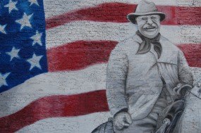 Colorado Downtown Denver Mural with President Theodore Roosevelt and the Flag