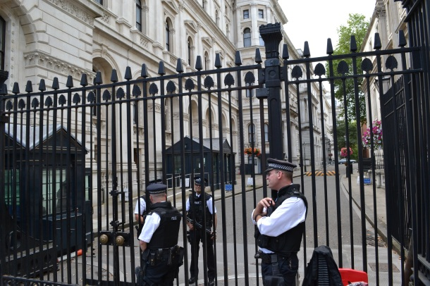 The gate outside the Prime Minister's home on Downing Street