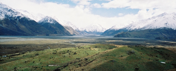 Standing atop Mount Sunday (Edoras) you can see the valley the Uruk-hai marched down (middle) and the location for Helms Deep (left)