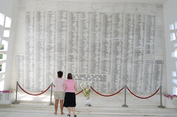 The names of the deceased are on a wall at the USS Arizona Memorial