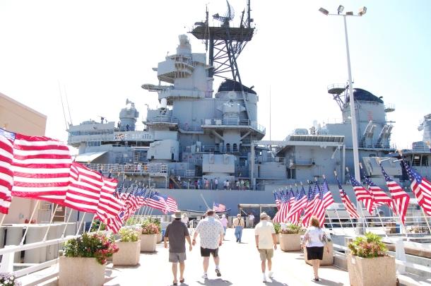 Approaching the USS Missouri