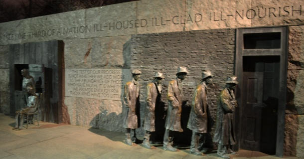 Quotations and sculptures at the FDR Memorial mark significant periods in his presidency
