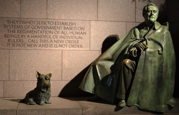 A sculpture of the president at the FDR Memorial