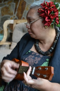 Auntie Irene Playing the Ukulele at The Four Seasons Lanai, The Lodge at Koele