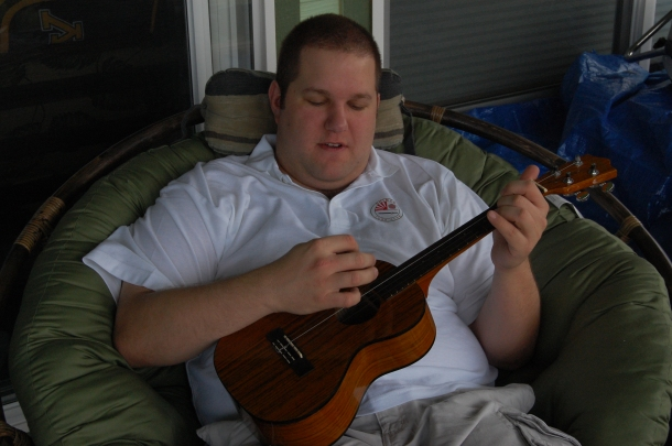 Trying to Play the Ukulele at a Friend's House on Oahu