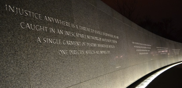 A wall of Martin Luther King Jr.'s quotations encircles the memorial