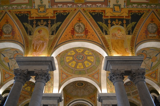 The ceiling above the Minerva mosaic