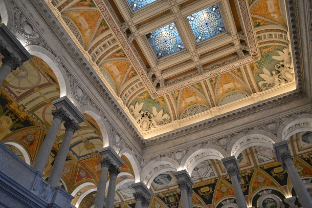 The ceiling in the Library of Congress lobby