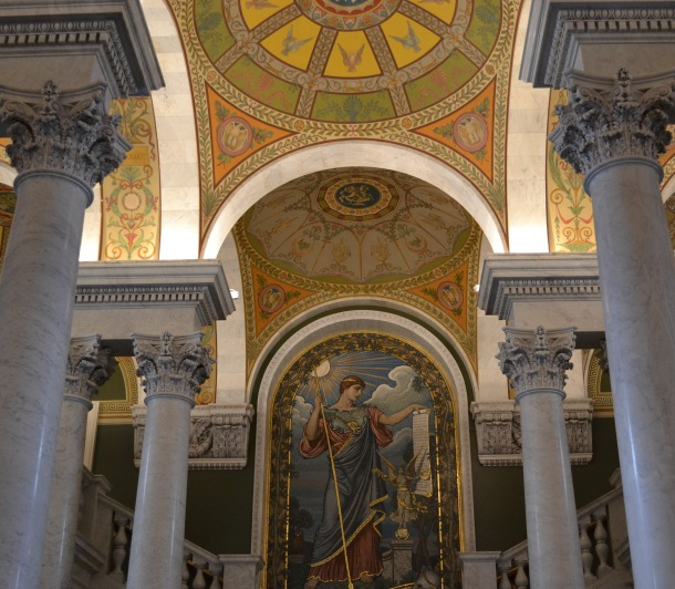 A giant mosaic of Minerva leading to the Main Reading Room overlook