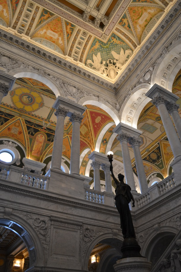 Looking up in the Library of Congress lobby