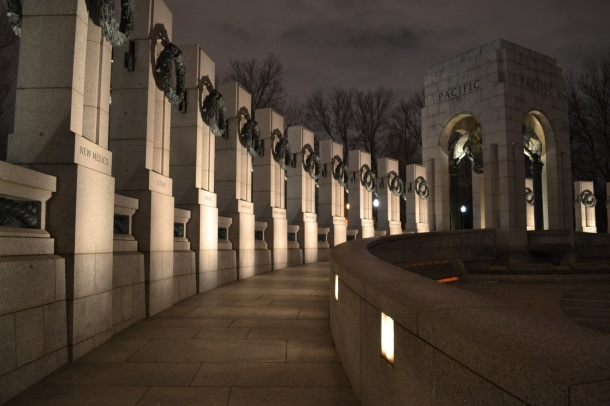 Walking around the World War II Memorial