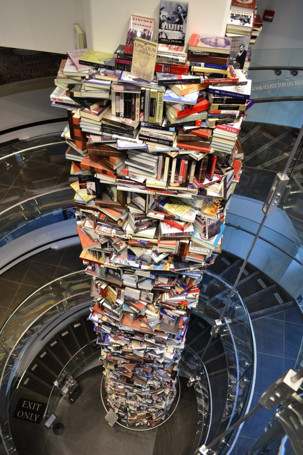 A tower of books on President Lincoln