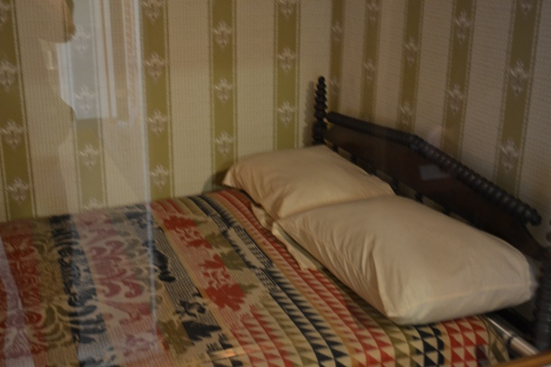 The bed where President Lincoln died on April 15, 1865