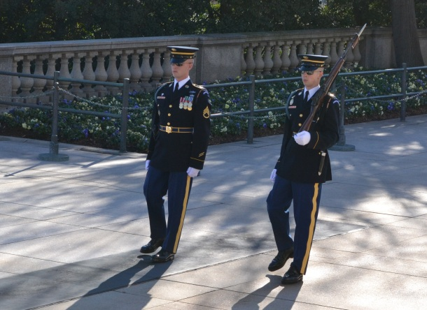 The sergeant and the replacement approach the Tomb of the Unknowns