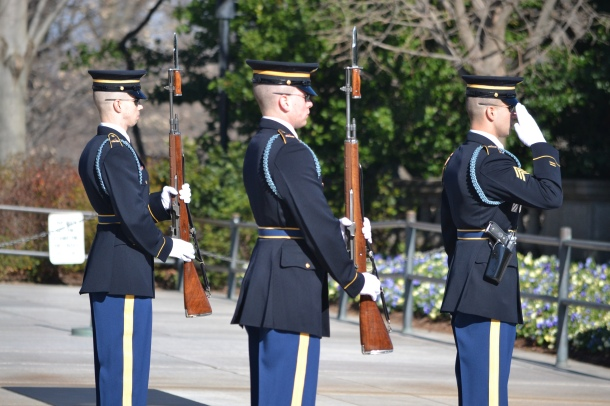 The soldiers salute the Tomb of the Unknowns