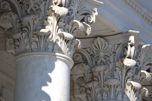The columns atop the amphitheater