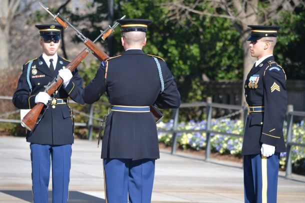 The changing of the guard at the Tomb of the Unknowns
