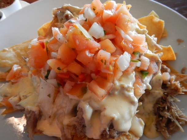 Pork nachos at the Sports Bar at Manele Bay
