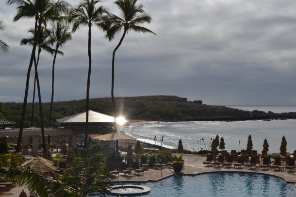 The view of Hulopo'e Beach from the resort