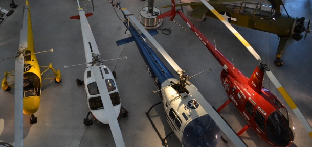 Some of the helicopters on display at the Udvar-Hazy Center