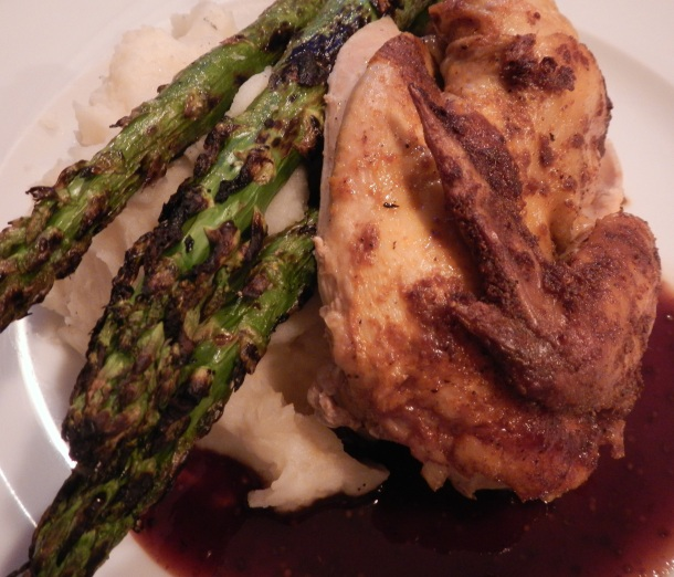 Chicken and giant asparagus spears