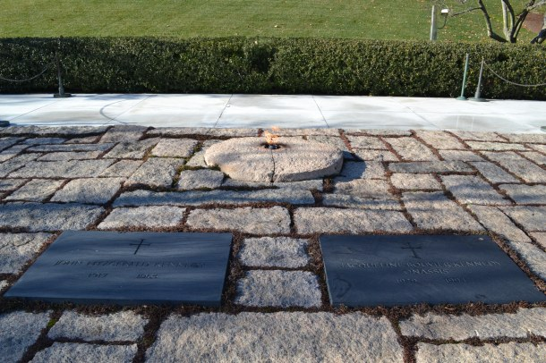 The graves of Jackie and John F. Kennedy