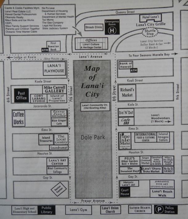 A Lanai City map for the Dole Stroll