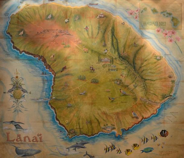 Map of Lanai in the Manele Bay lobby