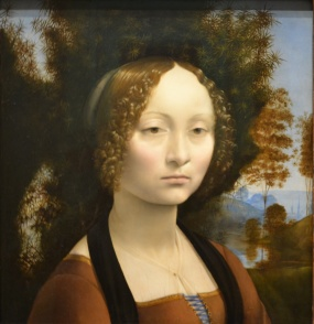The front of da Vinci's Ginevra de' Benci, 1474, in Gallery 6
