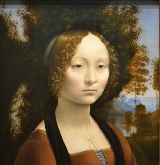 The front of da Vinci's Ginevra de' Benci, 1474, in Gallery 6