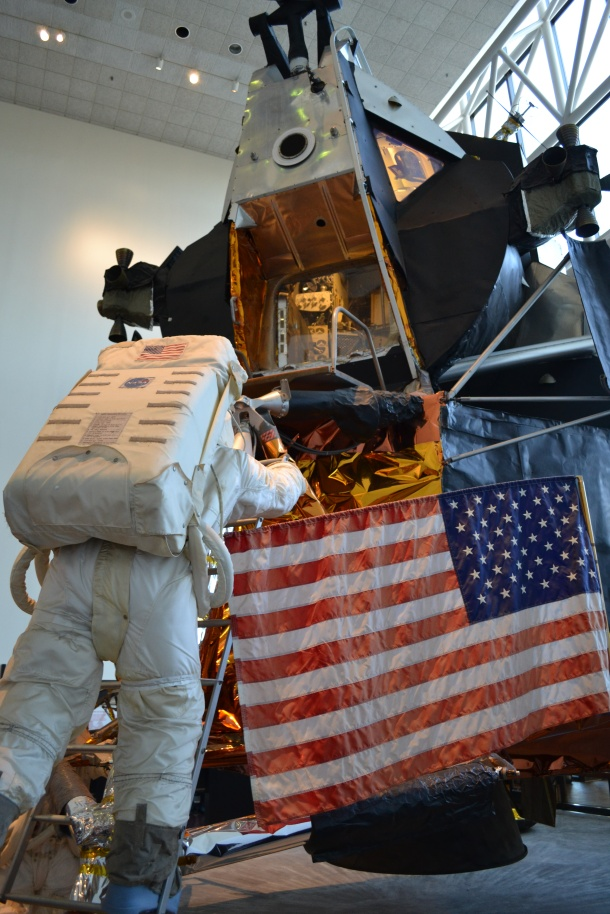 Climbing onto the lunar module