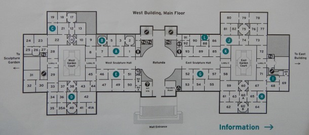 A map of the National Gallery of Art's West Building