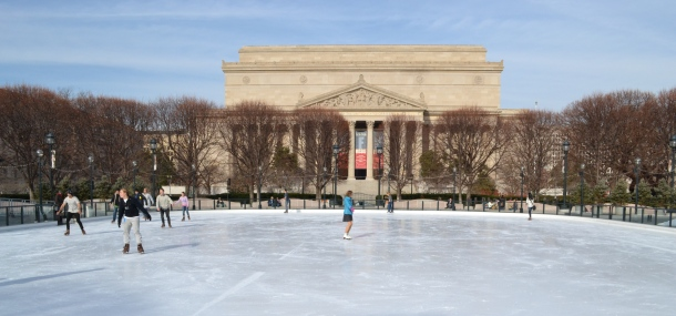 The ice skating rink in the National Sculpture Garden in front of the National Archives