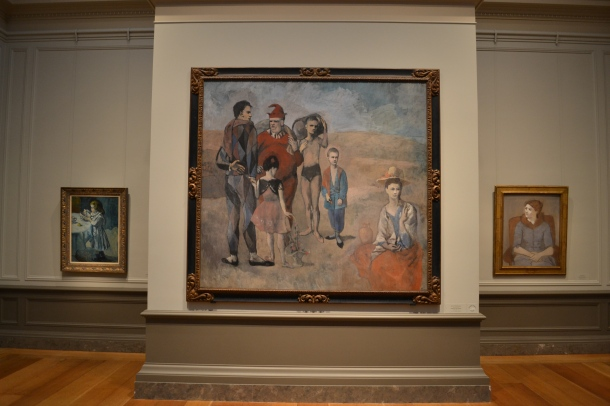 Piccaso's Le Gournet, 1901; Family of Saltimbanques, 1905; Madame Picasso, 1923