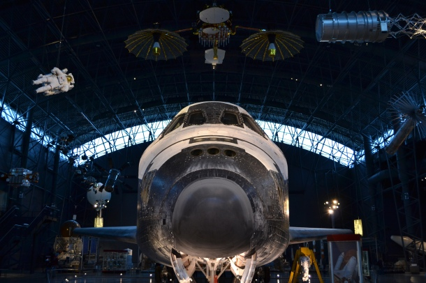 Looking up at the Space Shuttle Discovery