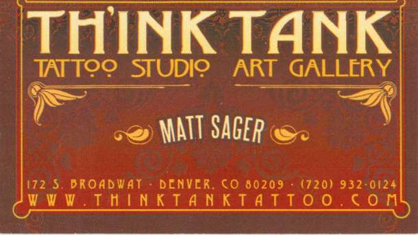 Th'ink Tank Tattoo Matt Sager Business Card