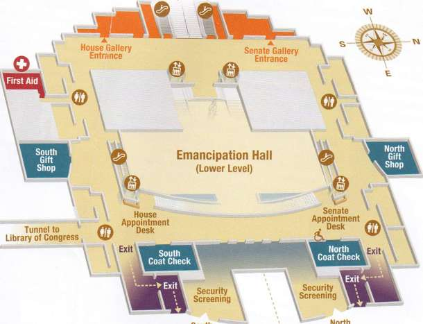 A map of the U.S. Capitol's Emancipation Hall