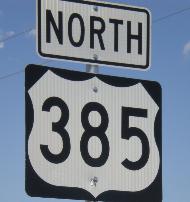 Driving north on Highway 385