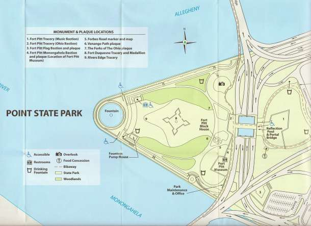 A map of Pittsburgh's Point State Park