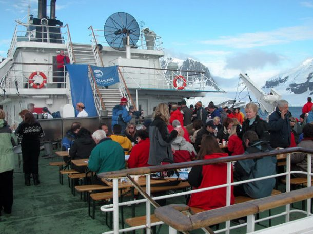 A cookout on the ship's deck with the Port Lockroy team