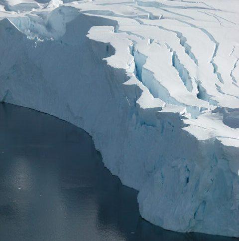 Massive crevasses on an enormous glacier