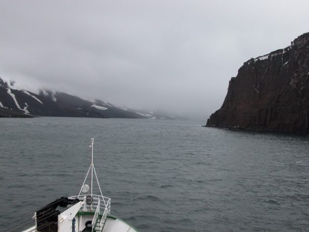 Cruising into - yes, into - Deception Island