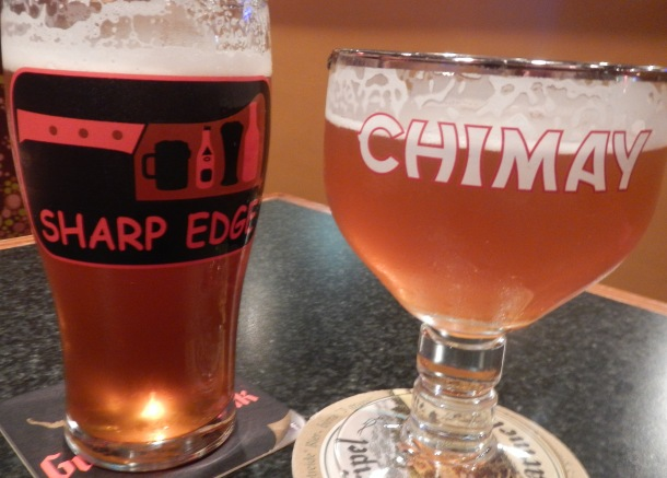 Grabbing a couple at the Sharp Edge Beer Emporium