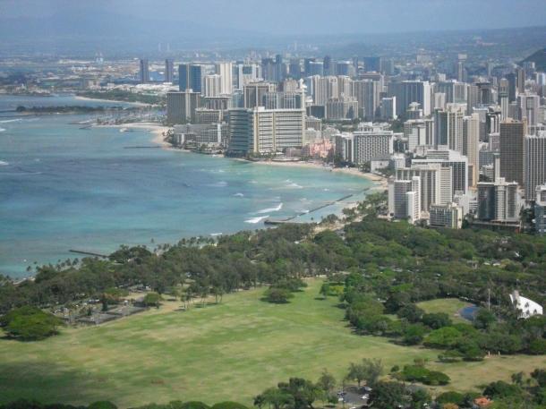 Hawaii Oahu Honolulu Diamond Head Waikiki View