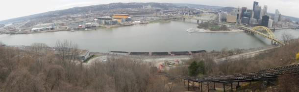 A Pittsburgh panoramic from atop the Duquesne Incline