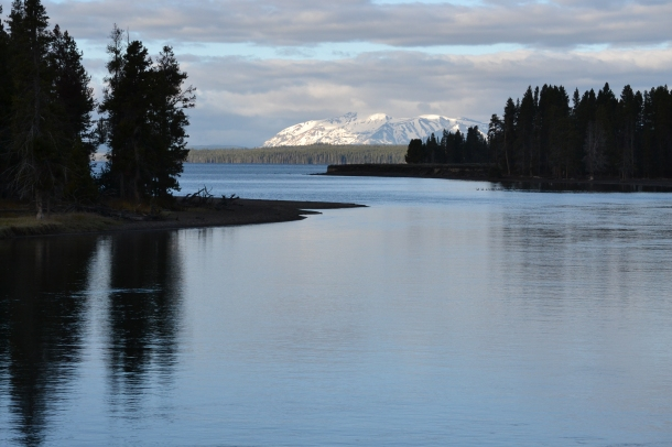 Yellowstone National Park Lake in the Morning from the Fishing Bridge