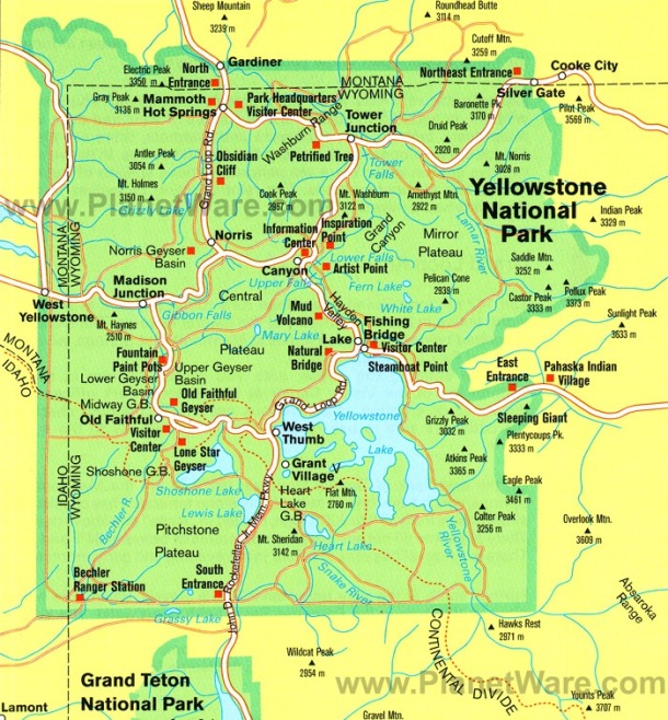 A map of Yellowstone National Park