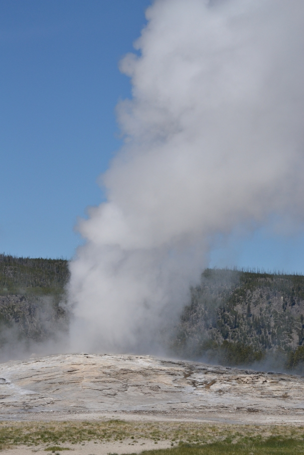 Watching Old Faithful erupt