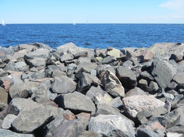 The giant rocks on Lake Superior's shoreline at Canal Park