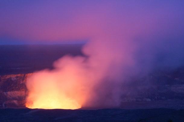 Hawaii Big Island Volcanoes National Park Halema'uma'u Crater at Dusk